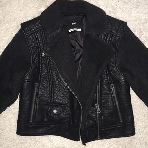 Urban Outfitters Black Fur Leather Jacket